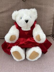 """Vermont Teddy Bear Plush Jointed 16"""" White Bear Blue Eyes with Red Heart Dress"""