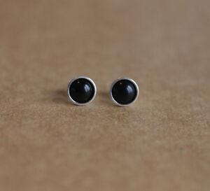 925 Sterling silver stud earrings with 6mm natural Black Onyx gemstones