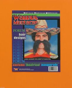 Adult Mens Walrus Mexican Moustache Mustache Facial Hair Costume Accessory NEW