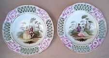 PAIR N1 EARLY ANTIQUE ROYAL VIENNA WIEN PORCELAIN PIERCED PLATES GALANT SCENES