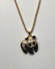 Betsey Johnson Necklace Panda Bear Gold Black Crystals Gift Box Organza Bag LK