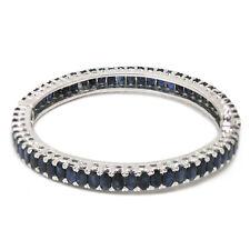 De Buman Natural Sapphire Sterling Silver Bangle Bracelet 8.48 Inches