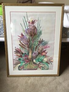 Flower arrangement picture drawn in pastels, In great condition