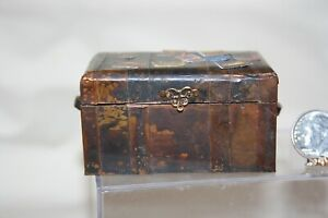 Miniature Dollhouse Artisan Wood & Copper Steamer Trunk w Vintage Travel Labels