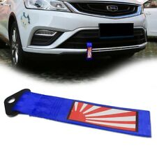 1X Blue Japanese Rising Sun Pattern Tow Ropes Tow Hook Car Bumper Traction Belt