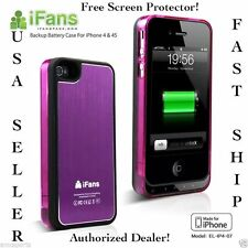 1450mAh BLACK/PRPL EXTERNAL BACKUP BATTERY CHARGER CASE COVER FOR IPHONE 4 4S 4G