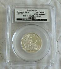 2012 £1 BRITANNIA SILVER PROOF SLABBED CGS 99 - 25th ANNIV PORTRAIT COLLECTION d