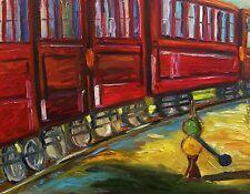 ORIGINAL Red  TRAIN Cars OIL  Painting JMW art John Williams Impressionism