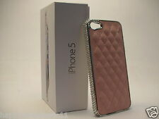 Lt Pink Quilted Chrome Faux Leather Phone Case w/Swarovski Crystal FOR iPhone 5