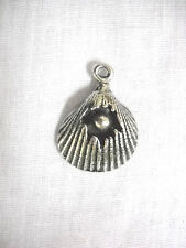 SURF BEACH CLAM SHELL w PEARL INSIDE CRACKED USA PEWTER PENDANT ON ADJ NECKLACE