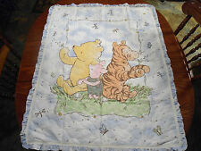 CLASSIC POOH BABY QUILT HANDMADE 34 BY 36 MATCHING BINDING FREE FABRIC PILLOW