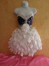 DENIM & DIAMONDS NAVY & WHITE CORSET TAFFETA PETAL TUTU MINI SKIRT DRESS WEDDING