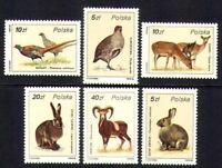 Poland 1986 MNH 6v, Birds, Rabbit, Deer, Animals,