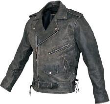 Mens Distressed Leather Marlon Brando Belted Biker Motorcycle Armoured Jacket