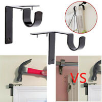 2 X Single Hang Curtain Rod Holders Bracket Window Frame Curtain Rod Bracket