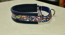 FLEECE LINED MARTINGALE DOG COLLAR - SUPERHEROES - VARIOUS SIZES