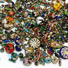 CLX167 Assorted Color, Shape & Size 6mm-16mm Cloisonne Enamel & Metal Beads 8/oz