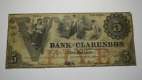 $5 1853 Fayetteville North Carolina Obsolete Currency Bank Note Bill! Clarendon