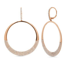 1.37 Ct 14K Rose Gold Natural Round Cut Pave Diamond Circle O Drop Earrings
