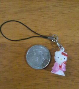 New Hello Kitty Pink Kimono 3D Cell Phone Charm Strap Lariat Ornament -