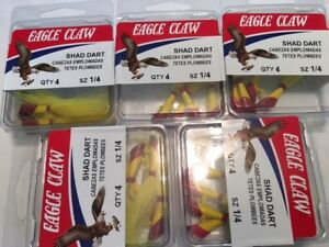 LOT OF 20 Eagle Claw ECJSD1/4-RY Shad Dart RED / YELLOW BUCKTAIL 1/4 OZ