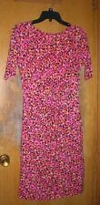 Chaus Pink Print Short Sleeve Dress Size Small with Gathering & Ruching at Waist