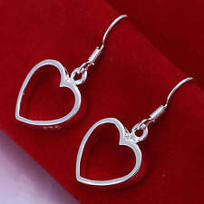 Silver Plated Pair Of Love Heart Earrings 14mm in size.Women's 925