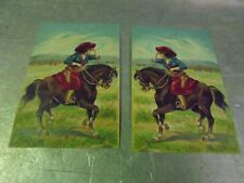 Two lithograph Embossed Postcards Girl on Horseback Mirror Images