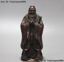 Chinese Ancient Confucianism Bronze Copper Great Confucius Kong Zi Kongzi Statue