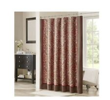 Madison Park Mp 70-3041 Talbot Jacquard Shower Curtain Brown Red 72 X72