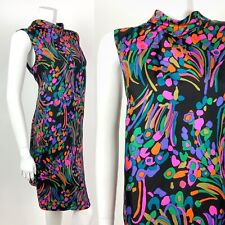 VINTAGE 60s 70s BLACK PINK PURPLE BLUE FLORAL ABSTRACT SWIRL SHIFT DRESS 12