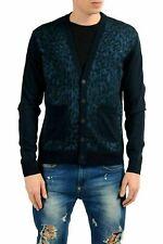 Versace Jeans Men's Wool Blue Animal Print Cardigan Sweater US M IT 50