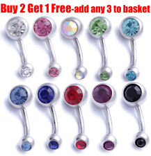 Surgical Steel Silver Navel Button Bar Belly Bars Ring Double Crystal Piercing