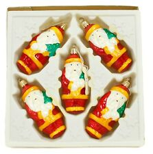 Orange Red Santa Vintage Handblown Eastern Europe Glass Christmas Ornament Set