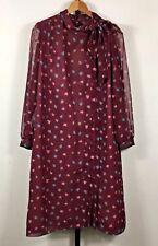 Vintage Mendel Chiffon Smock Dress Womens 16 Burgundy Leaves USA Union Made