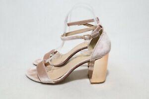 Size 7 Womens Open Toe Mule Strap Glitzy/Shinny Velvet + Rose Gold Block
