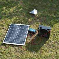 40W Home DC Complete Portable Solar Panel Kit Charger Controller Power Generator