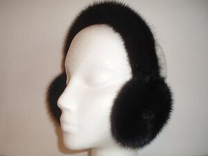 NEW  BLACKGLAMA BLACK COLOR FUR MINK EARMUFFS Great prices don't miss!!