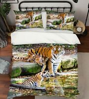 3D Tiger River A335 Animal Bed Pillowcases Quilt Duvet Cover Set Queen King Zoe