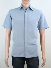Topman mens size medium large Moto blue short sleeve shirt