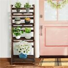 4-Tier Wooden Plant Stands Foldable Ladder Shelf Flower Display Indoors Outdoors