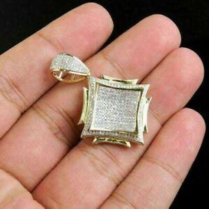 1.84Ct Round Simulated Diamond 14k Yellow Gold Over Silver Custom Men's Pendant
