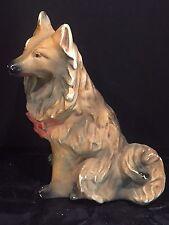 Antique Vintage LARGE Plaster Chalkware Dog Sculpture