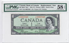 1954 Bank of Canada PMG Graded $1 Devil's Face Replacement Note Ch About UNC 58