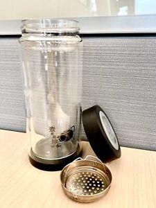 Double Wall Glass Tea Tumbler Water Bottle Filter Infuser Travel Office Mug