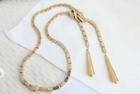 "Box Link Chain Lariat Necklace 19"" Textured Leaves Metal 6"" Tassels Vintage"