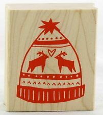 Stocking Cap Wood Mounted Rubber Stamp Yellow Owl Workshop NEW winter snow xmas