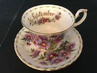 BONE CHINA CUP SAUCER BY ROYAL ALBERT FLOWER OF THE MONTH SEPTEMBER MICHAELMAS