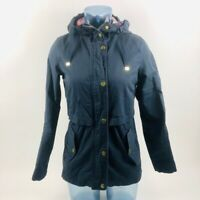 Aina Be Womens Jacket Blue Zip Up Hooded Snap Buttons Pockets Plaid S Cotton