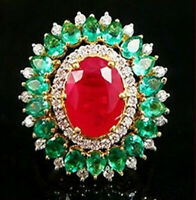 2.50 Carat Ruby Emerald & diamond Multi Color Ring 18K Yellow Gold Over Ring